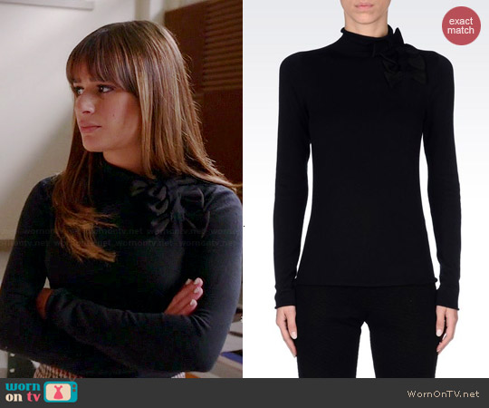 Emporio Armani High Neck Jumper with Bows worn by Lea Michele on Glee