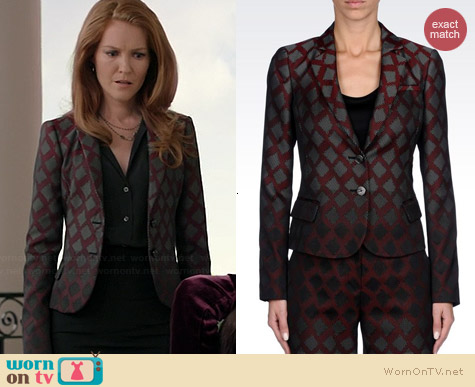 Emporio Armani Two Buttons Jacket in Geometric Pattern Jacquard worn by Darby Stanchfield on Scandal