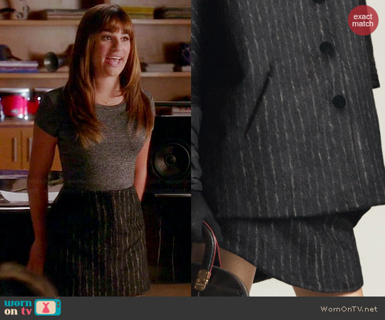 Emporio Armani Striped Skirt worn by Rachel Berry on Glee