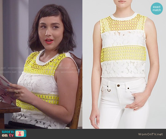 Endless Rose Floral Lace Crop Top worn by  Molly Ephraim on Last Man Standing