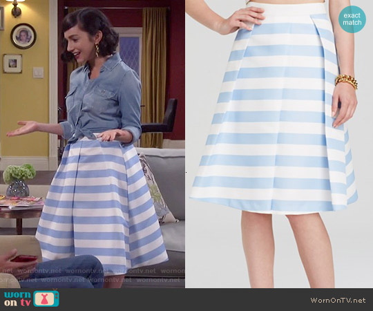 Endless Rose Stripe Midi Skirt worn by  Molly Ephraim on Last Man Standing
