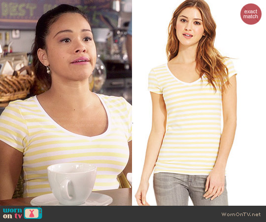 Energie Short Sleeve V-Neck Tee in Vibrant Yellow/Bright White Stripe worn by Gina Rodriguez on Jane the Virgin