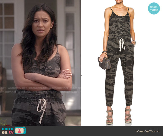 Enza Costa Strappy Linen Jumpsuit in Army worn by Shay Mitchell on PLL
