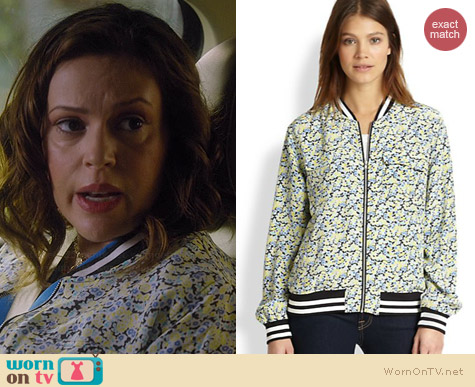 Equipment Abbot Floral Bomber Jacket worn by Alyssa Milano on Mistresses