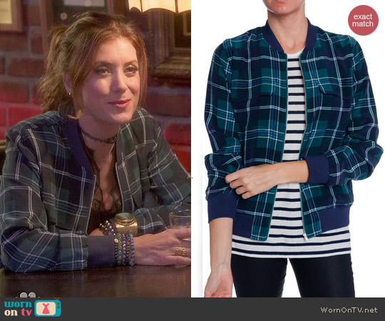 Equipment Abbot Bomber Jacket in Pine worn by Kate Walsh on Bad Judge