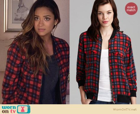 Equipment Abbott Check Jacket worn by Shay Mitchell on PLL