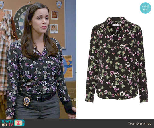Equipment 'Adalyn' Floral Silk Blouse worn by Melissa Fumero on Brooklyn Nine-Nine