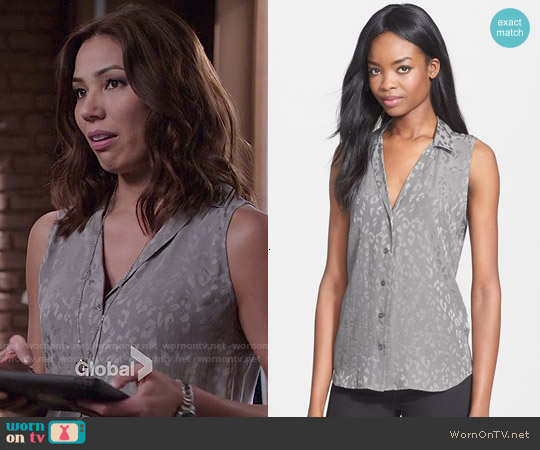 Equipment Adalyn Leopard Silk Blouse worn by Michaela Conlin on Bones