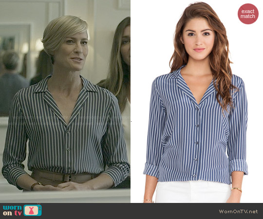 Equipment Adalyn Striped Blouse worn by Robin Wright on House of Cards