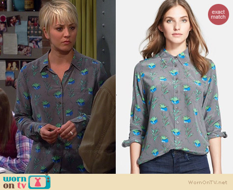 Equipment Brett Blouse in Gunmetal worn by Kaley Cuoco on The Big Bang Theory