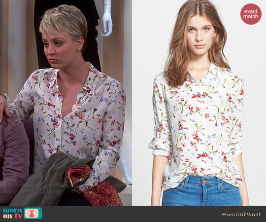 Equipment Brett Floral Silk Blouse in Nature White worn by Kaley Cuoco on The Big Bang Theory