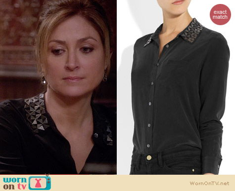 Equipment Brett Shirt with Metal Geo Collar worn by Sasha Alexander on Rizzoli & Isles