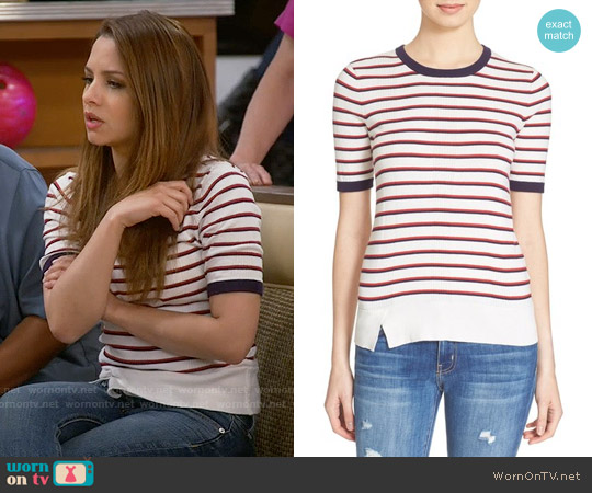 Equipment Brienne Stripe Knit Tee worn by Aimee Carrero on Young & Hungry