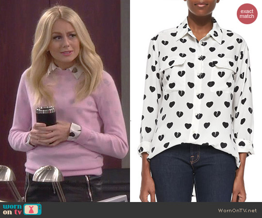Equipment Broken Hearts Signature Blouse worn by Justine Lupe on Cristela