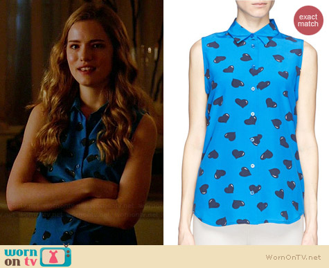 Equipment Colleen Heart Print Shirt worn by Willa Fitzgerald on Royal Pains