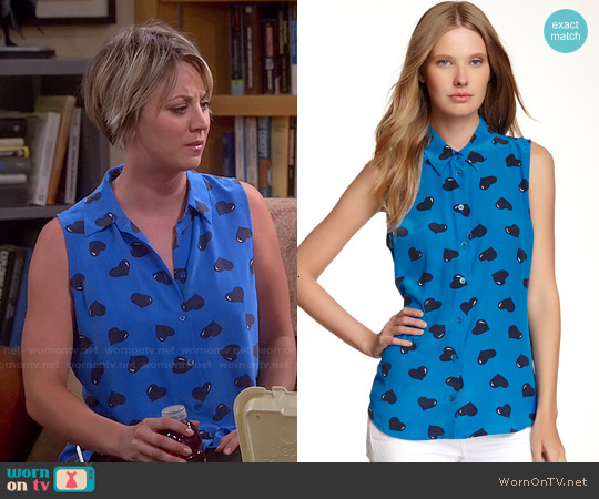 Equipment Colleen Shirt in Klein Blue worn by Kaley Cuoco on The Big Bang Theory