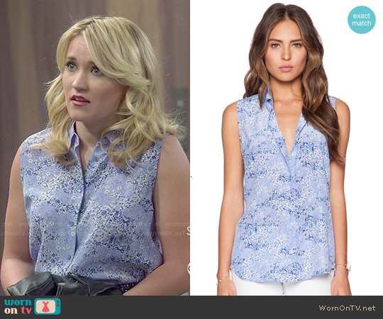 Equipment Colleen Top in Amparo Blue worn by Emily Osment on Young & Hungry