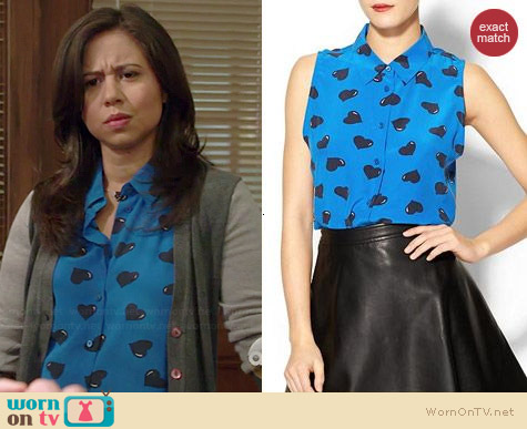 Equipment Colleen Top in Blue Heart Print worn by Chloe Wepper on Manhattan Love Story