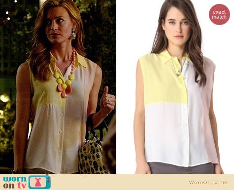Equipment Diem Colorblock Blouse worn by Brooke D'Orsay on Royal Pains