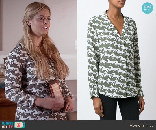 Equipment Keira Horse Print Shirt in Khaki worn by Sasha Pieterse on PLL