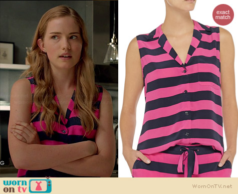Equipment Keira Striped Washed Silk Top worn by Willa Fitzgerald on Royal Pains