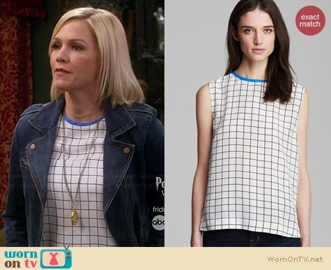 Equipment Kyle Streamline Grid Top worn by Jennie Garth on Mystery Girls