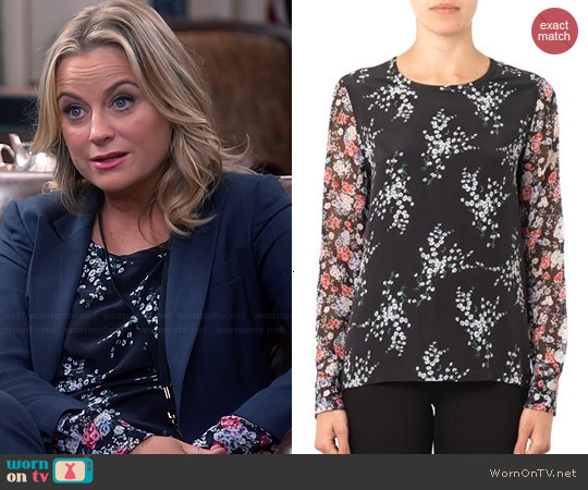 Equipment Liam Elevated Bloom Silk Blouse worn by Amy Poehler on Parks & Rec