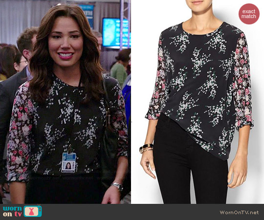 Equipment Liam Elevated Bloom Silk Blouse worn by Michaela Conlin on Bones