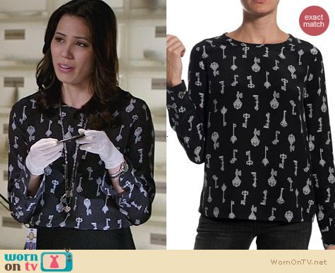 Equipment Liam Key Print Blouse worn by Michaela Conlin on Bones