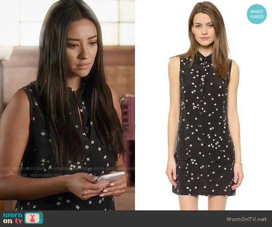 Equipment Lucida Silk Star Print Dress worn by Shay Mitchell on PLL