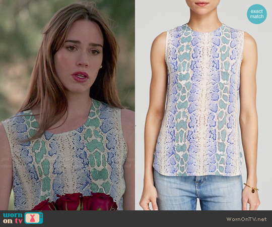 Equipment Lyle Top in Amporo Python Print worn by Christa Allen on Revenge