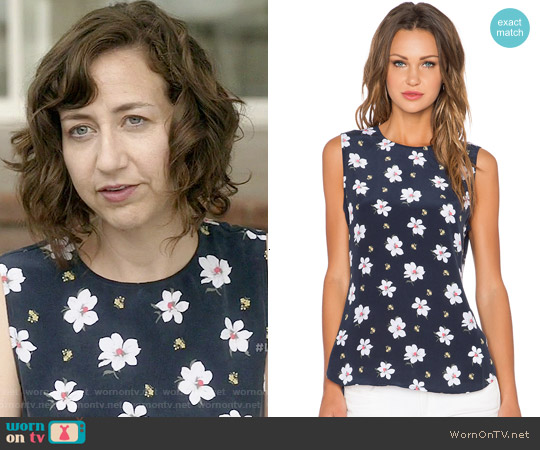 Equipment 'Lyle' Top in Cactus Floral worn by Kristen Schaal on Last Man On Earth