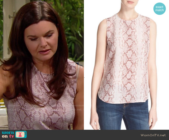 Equipment Lyle Top in Picasso worn by Heather Tom on The Bold & the Beautiful