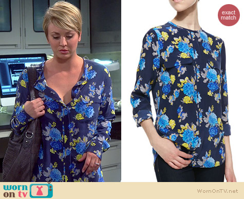 Equipment Lynn Blouse in Peacoat worn by Kaley Cuoco on The Big Bang Theory