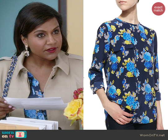 Equipment Lynn Blouse in Peacoat Floral worn by Mindy Kaling on The Mindy Project