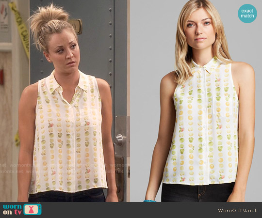 Equipment Mina Blouse in Orchard Blossom worn by Kaley Cuoco on The Big Bang Theory