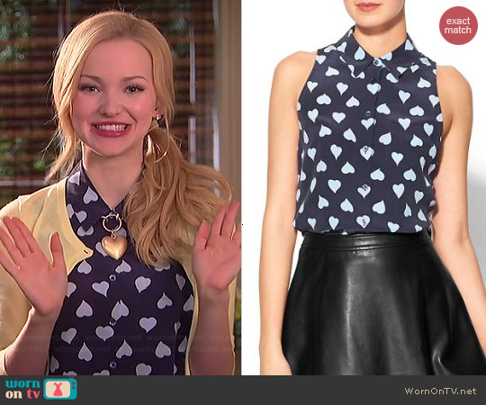 Equipment Mina Top in Peacoat worn by Dove Cameron on Liv & Maddie