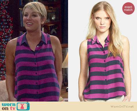 Equipment Mina Striped Top worn by Kaley Cuoco on The Big Bang Theory