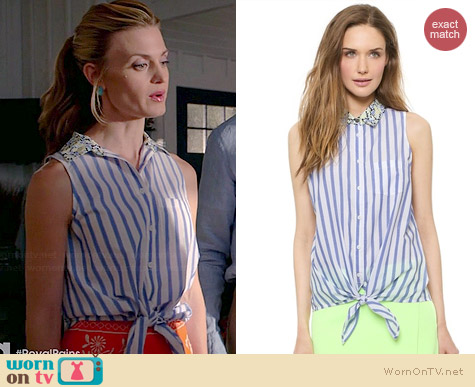 Equipment Mina Tie Front Blouse in Hydrangea worn by Brooke D'Orsay on Royal Pains