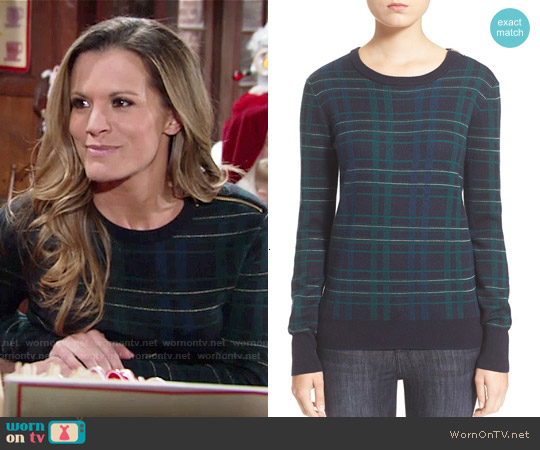 Equipment Ondine Plaid Sweater in Ink worn by Melissa Claire Egan on The Young & the Restless