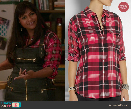 Equipment Slim Signature Plaid Shirt worn by Mindy Kaling on The Mindy Project
