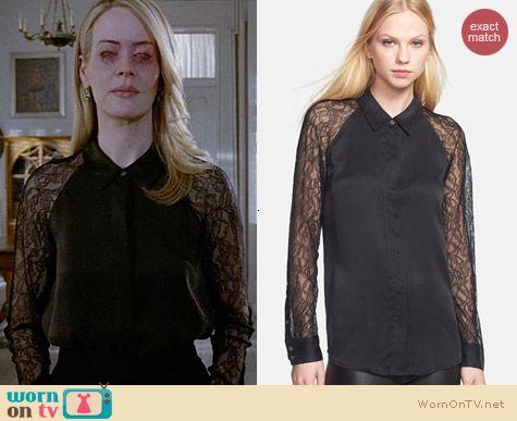 Equipment Quinn Lace & Silk Shirt worn by Sarah Paulson on AHS Coven