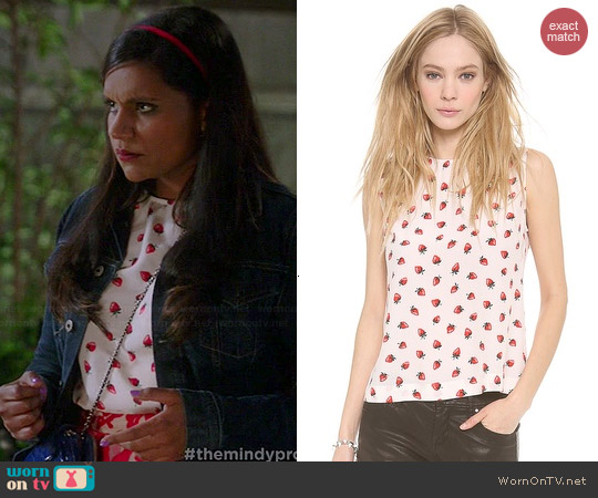 Equipment Reagan Strawberry Print Top worn by Mindy Kaling on The Mindy Project