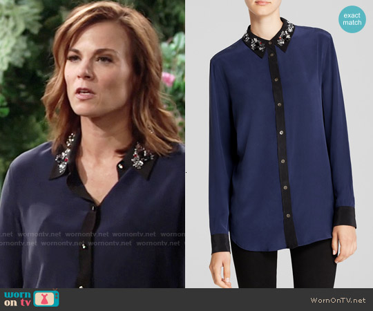 Equipment Reese Clean Embellished Hidden Dragon Collar Silk Shirt worn by Gina Tognoni on The Young & the Restless