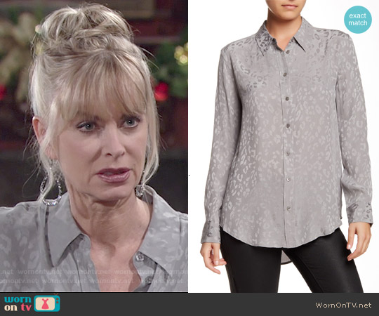 Equipment Reese Leopard Silk Shirt in Frost Grey worn by Eileen Davidson on The Young & the Restless