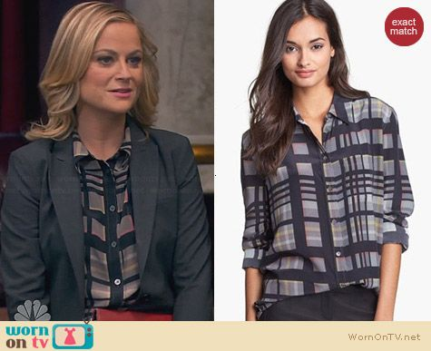 Equipment Reese Shirt in Black Multi worn by Amy Poehler on Parks & Rec