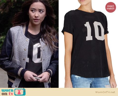 Equipment Riley Contrast Black Tee worn by Shay Mitchell on PLL