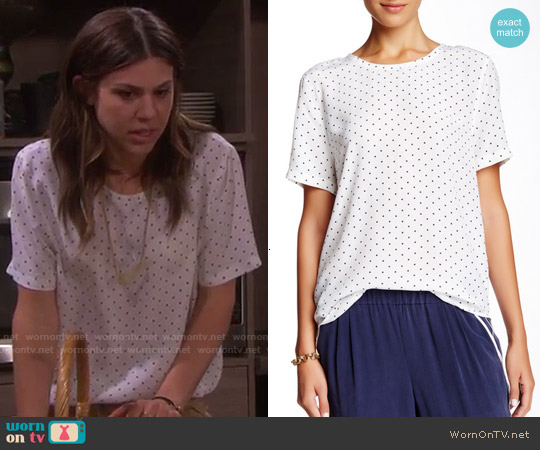 Equipment Riley Polka Dot Silk Top worn by Marci Miller on Days of our Lives