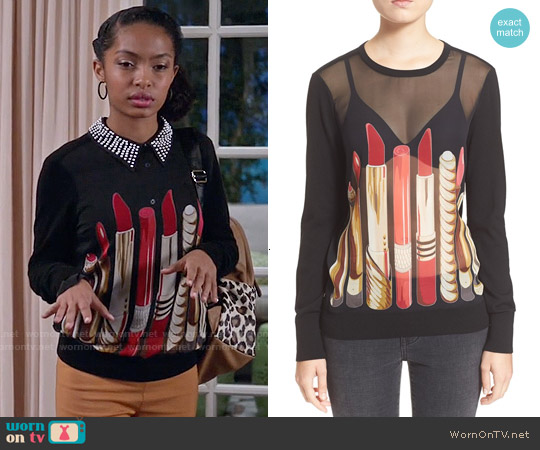 Equipment Roland Lipstick Pullover worn by Yara Shahidi on Blackish