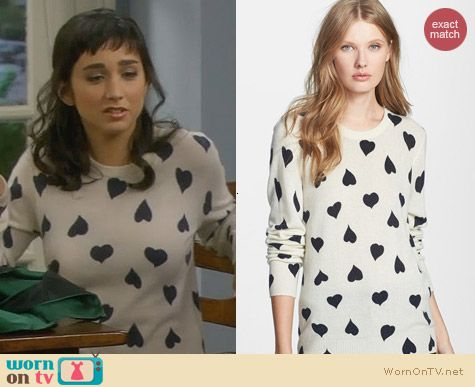 Equipment Shane Heart Sweater worn by Molly Ephraim on Last Man Standing